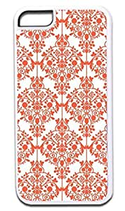 03-Floral Damask Pattern- Case for the APPLE iphone 4 4s ONLY!!! NOT COMPATIBLE WITH THE iphone 4 4s case!!!-Hard White Plastic Outer Case with Tough Black Rubber Lining