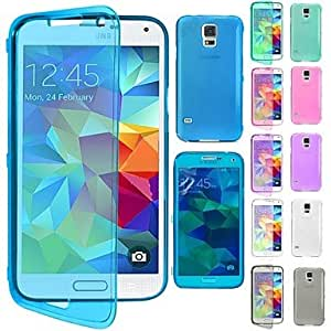 YULIN Flip Clear Soft Thin TPU Silicone Full Body Case for Samsung Galaxy G800 S5 mini (Assorted Colors) , Black