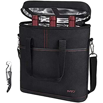 95540e88926d Amazon.com: CleverMade Wine Bottle and 6 Pack Cooler Bag; Insulated ...