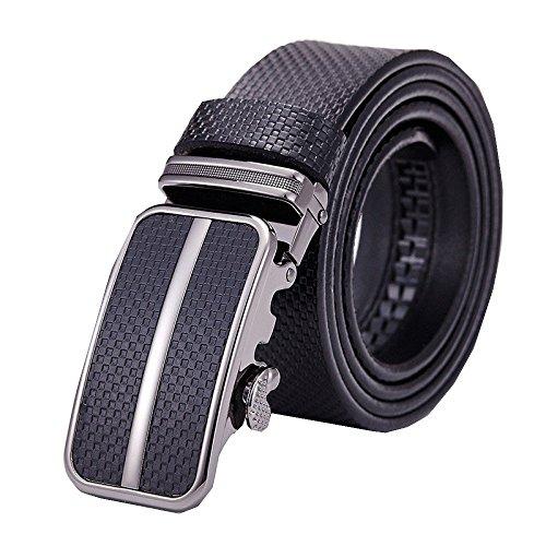 Belt Men's Formal Wear Leather Belt Automatic Buckle Business Pants with Casual Embossed Jeans Belt,Black-110CM