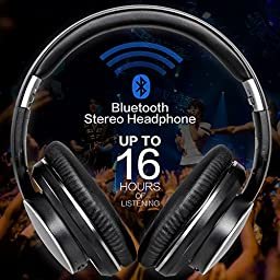 Mixcder Over Ear Stereo Wireless Bluetooth 4.1 Headphones with Mic, Extra Bass, 16 Hours of Listening, Foldable for TV Computers Tablets Phones