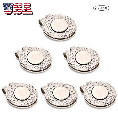 Amy Sport Golf Ball Marker Hat Clip Magnetic Value 3 Pcs 6 Pcs Set, Silver Durable Removable Attaches Easily to Hats Caps Belt (6 Pcs)