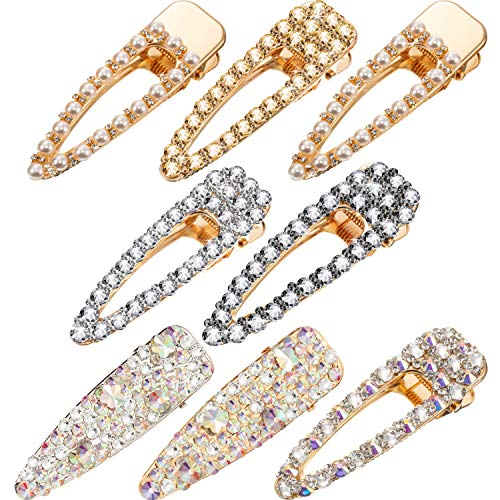 - 8 Pieces Rhinestone Hair Clips Crystal Alligator Hair Clips Pearl Barrettes Hairpins for Wedding Bridal Hair Styling Accessories, 3 Style