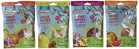 Torie & Howard Organic Gluten Free Chewie Fruities Candy 4 Flavor Variety Bundle: Blood Orange & Honey, Meyer Lemon & Raspberry, Pomegranate & Nectarine and Asst. Flavors, 4 - Honey Nectarine