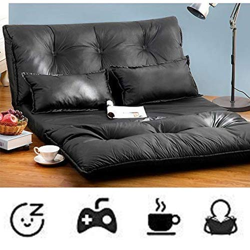 Merax Foldable Floor Sofa Bed Leather Adjustable Futon Sofa Bed Lounge Bed Floor Mattress Lazy Man Couch Folding Floor Chair with 2 Pollows (Black)