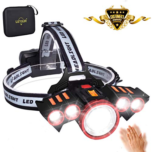 LETOUR LED Headlamps, Smart Gesture Sensing 5 Leds 4 Modes Headlights Rechargeable Zoomable Super Bright Headlights Waterproof For Camping, Jogging, Cycling, 218650 batteries Included