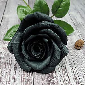 Black Paper Rose Perfect Anniversary Paper Gift Handmade Art Realistic Artificial Roses Unique Gift For Her, Single Long Stem, 01 Flower 70