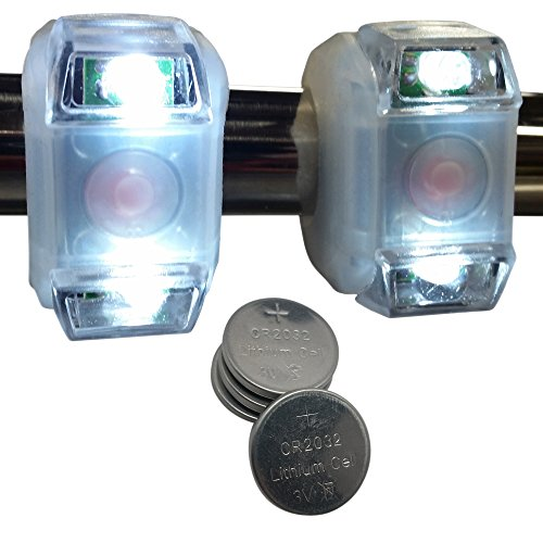 Bright Eyes 2-PACK White Portable Marine LED Emergency Water-Resistant Boating Lights - Boat Bow or Stern Safety (Marine Stern Light)