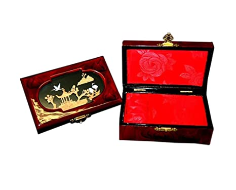 jademarket Hong Kong Gorgeous cajas de joyería de madera con forro de seda rojo – ovalado