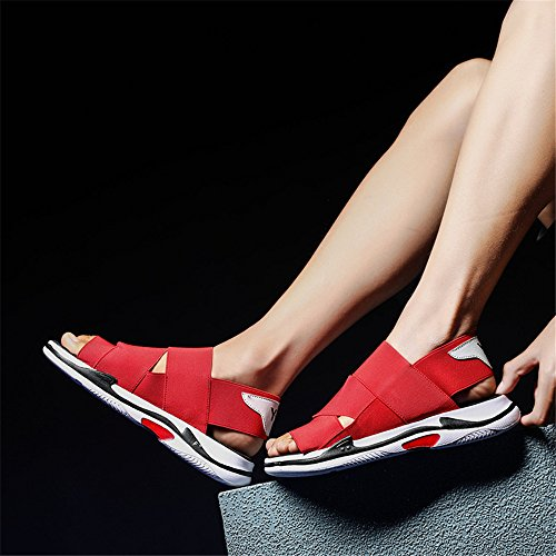 Comodi Red Color Size spiaggia Casual 1 antiscivolo sandali uomo 3 open da Gray Estate EU 41 da Scarpe Sandali traspiranti regolabili toe BwY6q17a