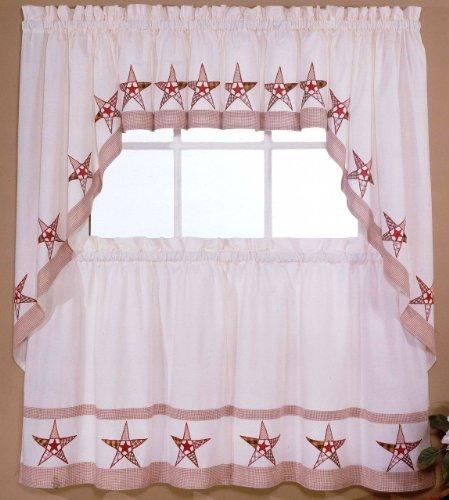 24' Tier Kitchen Curtains - Country Stars - Ecru/Red - 24'' tier (pr) Kitchen Curtain