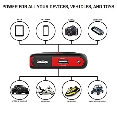 Arteck Car Jump Starter Auto Battery Charger and 8000mAh External Battery Charger Car Jumper for 12V Automotive, Motorcycle, Tractor, Boat, Phone with Clamps, LED Flashlight, 300A Peak 2.5L Gas Max
