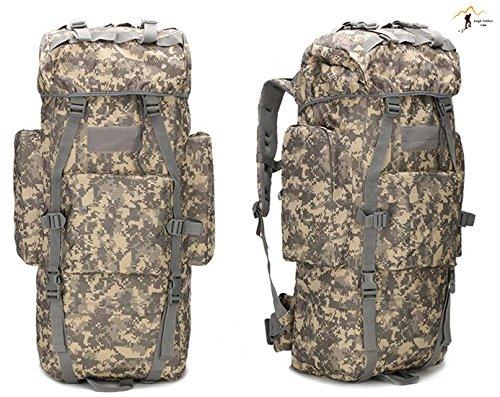 Jungle laptop 65L grande capacità oversize molle pacchetto borsa a tracolla tattico tasche Wild borsa zaino Zaino per trekking, campeggio, arrampicata copertura impermeabile mimetico zaino, ACU Digita