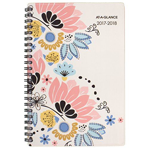 "AT-A-GLANCE Academic Weekly / Monthly Planner, July 2017 - June 2018, 4-7/8"" x 8"", Claire (1014-200A)"