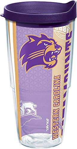Tervis 1229412 Western Carolina Catamounts College Pride Tumbler with Wrap and Royal Purple Lid 24oz, Clear