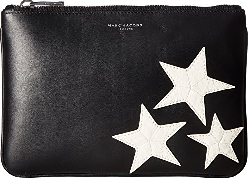 Black Leather Logo Pouch (Marc Jacobs Mens Stars Pouch Black One Size One Size)