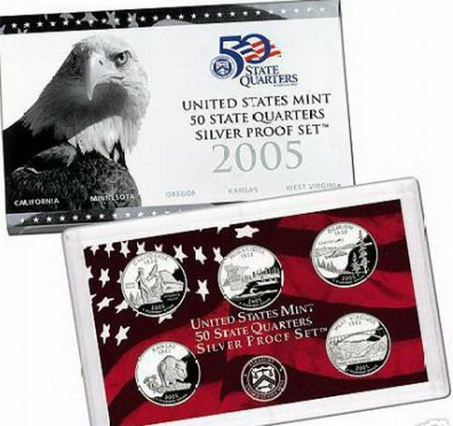 2005 Silver Proof State Quarter Set in Original Government ()