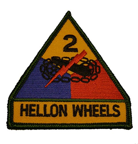 ARMY 2ND ARMORED DIVISION HELL ON WHEELS Shoulder Style PATCH - Color - Veteran Owned (M1a1 Tank Armor)