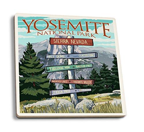 - Lantern Press Yosemite National Park, California - Signpost (Set of 4 Ceramic Coasters - Cork-Backed, Absorbent)