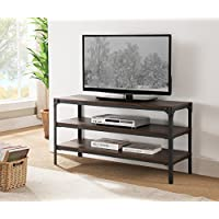 Kings Brand Antique Finish TV Stand With Shelves, Black / Walnut