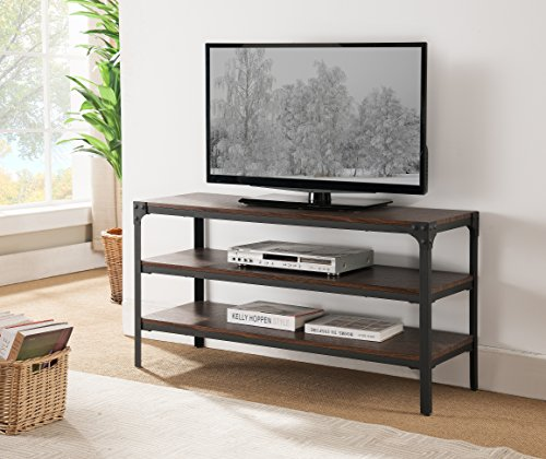 Kings Brand Antique Finish TV Stand with Shelves, Black/Walnut ()