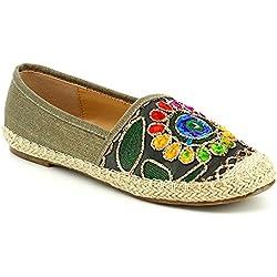WestCoast ingrid Women's Flower Embroidery Slip-On Espadrille Flat Loafer Khaki 9