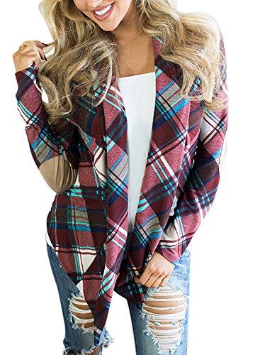 Kool Classic Women's Casual Plaid Long Sleeve Elbow Patch Draped Open Front Cardigan Sweater Purple (Kool Vest)