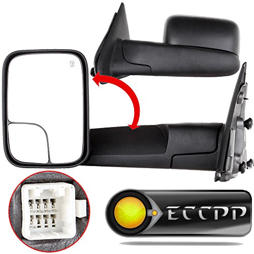 (ECCPP Towing Mirrors Power Heated Black Manual Replacement fit for 2003-08 Dodge Ram 1500 2500 3500 Truck Side Set)