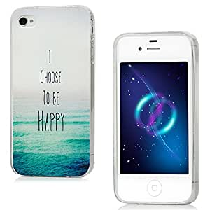 iPhone 4 / 4S Funda de GEL TPU Suave - YOKIRIN Carcasa Cover Anti-deslizante Case Transparente Borde(Mar)