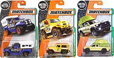 Matchbox Camping & Travel Series Toyota Land Cruiser FJ40 #120 Off Road Set + '16 Tacoma #86 & Travel Trecker #96 in PROTECTIVE (Bell Tanker)