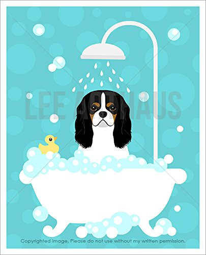257D - Tricolor Cavalier King Charles Spaniel Dog in Bubble Bath Bathtub UNFRAMED Wall Art Print by Lee ArtHaus
