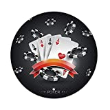 iPrint Polyester Round Tablecloth,Poker Tournament Decorations,Artistic Display Spread Chips Poker Cards Lifestyle Decorative,Black White Red,Dining Room Kitchen Picnic Table Cloth Cover Outdoor in