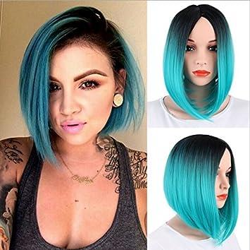 royalvirgin Mujer Peluca Corto Bob peluca de oscuro raíz de la mujer moda TOP calidad resistente al calor peluca de pelo sintético Ombre negro a azul ...