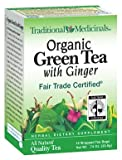 Traditional Medicinals Organic Fair Trade Cert. Green Tea W/ Ginger Herbal Wrapped Tea Bags, 16 ct