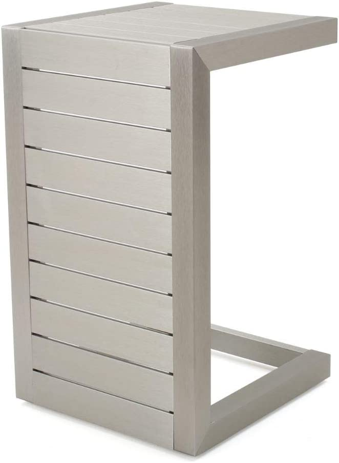 Christopher Knight Home Cape Coral Aluminum C-Shaped End Table, Silver
