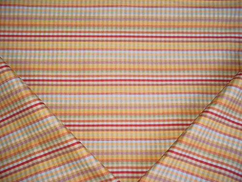 272H12 - Colorful Dusty Blue / Seafoam / Mustard / Carnelian Red / Apricot / White Beige Faux Silk Plaid Designer Upholstery Drapery Fabric - By the Yard
