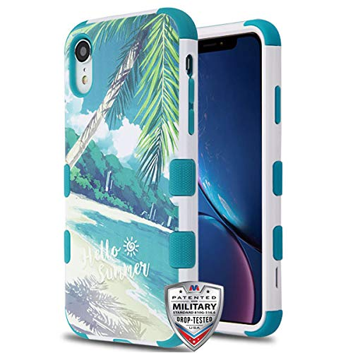 (Case+Tempered_Glass+Stylus, TUFF Hybrid Protector Cover [Military-Grade Certified] Fits Apple iPhone XR/iPhone 9 Palm Beach/Tropical Teal/Light Blue)