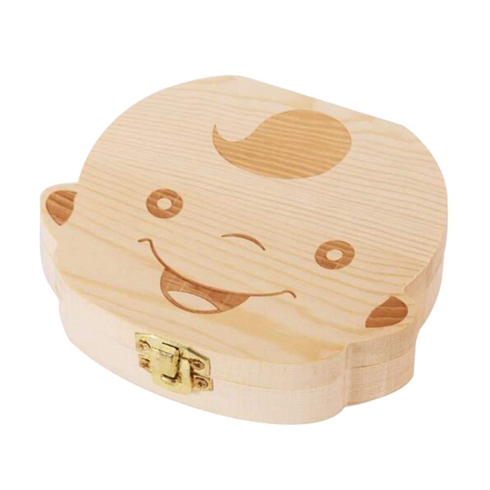 Caja de madera de dientes para bebé, de LAAT, para dientes de leche, para niños y niñas, niña, 12.5x11.5x3