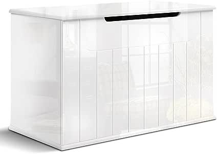 Artiss High Gloss Toy Box Storage White, 80(L) x 40(W) x 50(H) cm