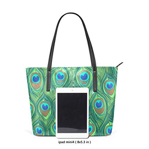 COOSUN Bunte Pfauenfeder Muster PU Leder Schultertasche Handtasche und Handtaschen Tasche für Frauen