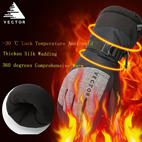 VECTOR Water-resistance Windproof Winter Thermal Warm Snow Gloves Snowboarding Gloves Snowmobile Ski Gloves (Men-Black, L)