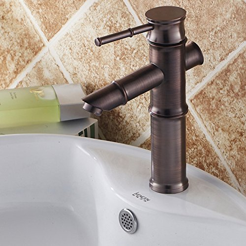Bamboo Single Hole (JiaYouJia Bamboo Single Hole Bathroom Sink Faucet in Classic Look ,Oil Rubbed Bronze,Short Style)