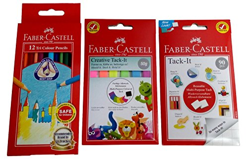 Faber Castell Bundle, White & Color Tack IT, 90 pcs White & 50g Color Set with Color Pencil 12 Count, 3 Item (Moldable Strips Adhesive)