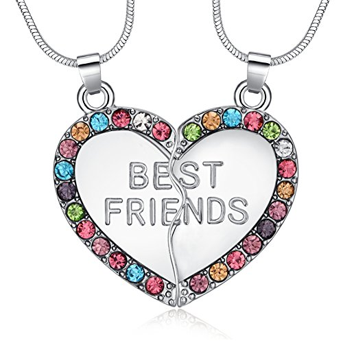- ELOI Best Friend Necklaces Multicolor Heart 2 Piece Gifts for Teen Girls 18 Inch Necklace Set