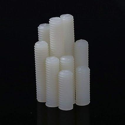 White Plastic Nylon Grub Screws Slotted Head Set Screws Flat Point M4 M5