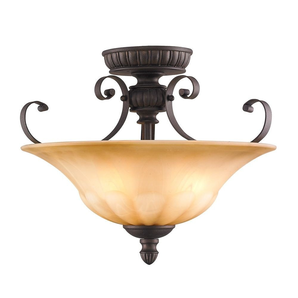 Golden Lighting 7116SFLC Convertible Semi Flush Mount with Creme Brulee Glass Shades, Leather Crackle Finish