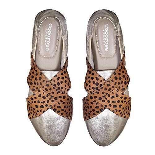 Cocorose Faltbare Schuhe - Hackney Damen Ballerinas Leder Gold & Leopard