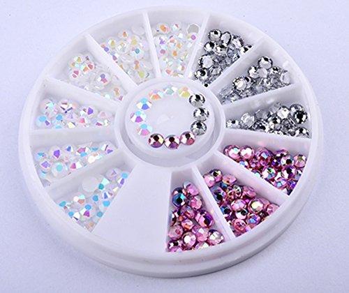 1 Pack 3D Silver Resin Acrylic Nail Art Rhinestones Wheel Colorful Decoration DIY Manicure Nails Tool Tips Kits Charming Popular Xmas Christmas Winter Snow Holidays Tools -