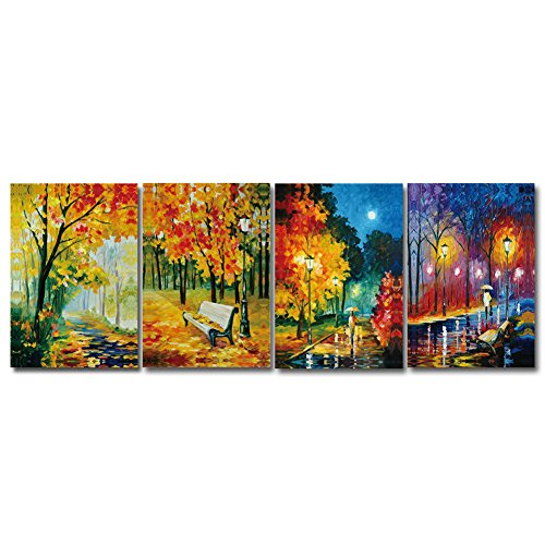 GOUPSKY ART- City Night Street and Trees Landscape Wall Art,Modern Abstract Oil Painting,Giclee Canvas Artwork Prints Stretched and Framed Home Wall Decoration 4pcs
