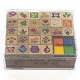 Wooden Stamp Set, Flowers - 27 Wooden Stamps, 4-Color Stamp Pad